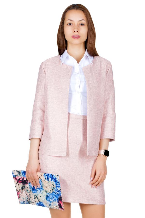 Комплект Жакет с юбкой Розовый