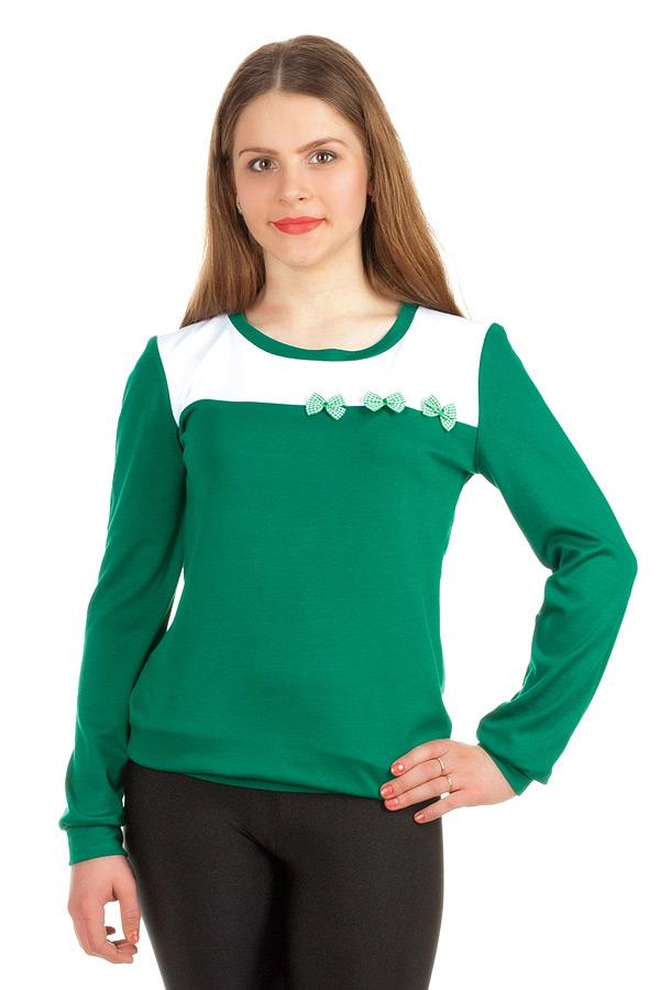 Свитшот Контрастная кокетка 3 банта Зеленый