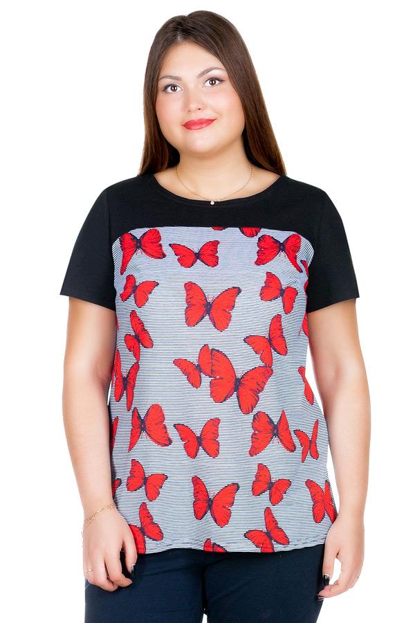 Блуза БР Senta Черный+Красные бабочки
