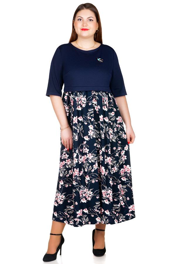 Платье БР Rebecca1 Темно-синий+Сакура
