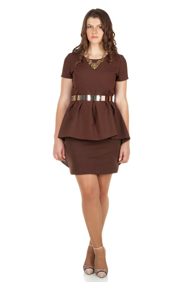 Платье БР Со шлейфом и складками Коричневый