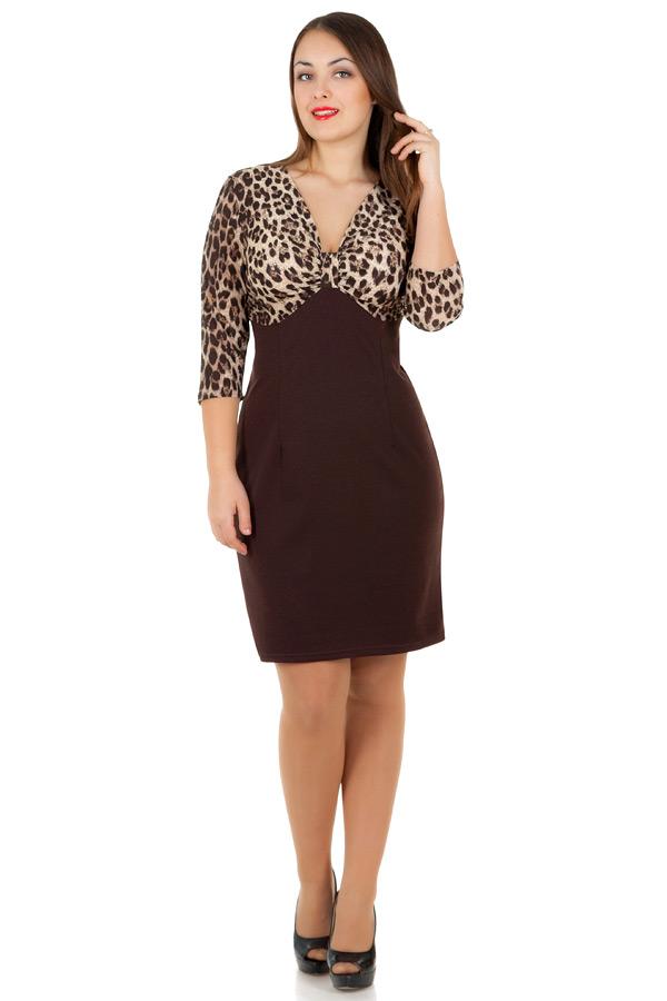 Платье БР Margo Леопард+Темно-коричневый