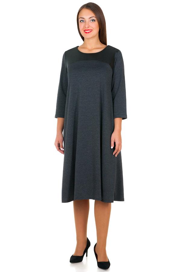 Платье БР С кожаной кокеткой Серый