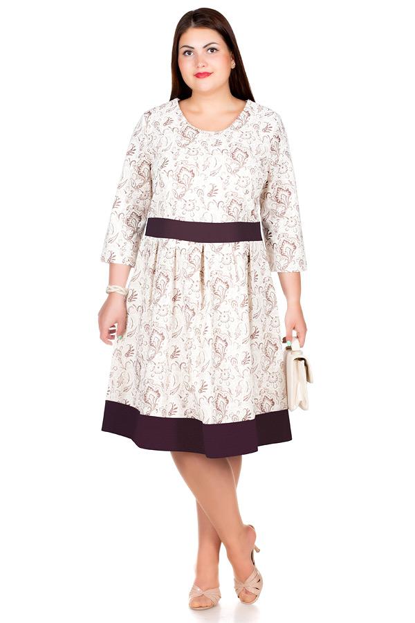 Платье БР Лен втачной пояс с окантовкой1 Огурцы коричневые
