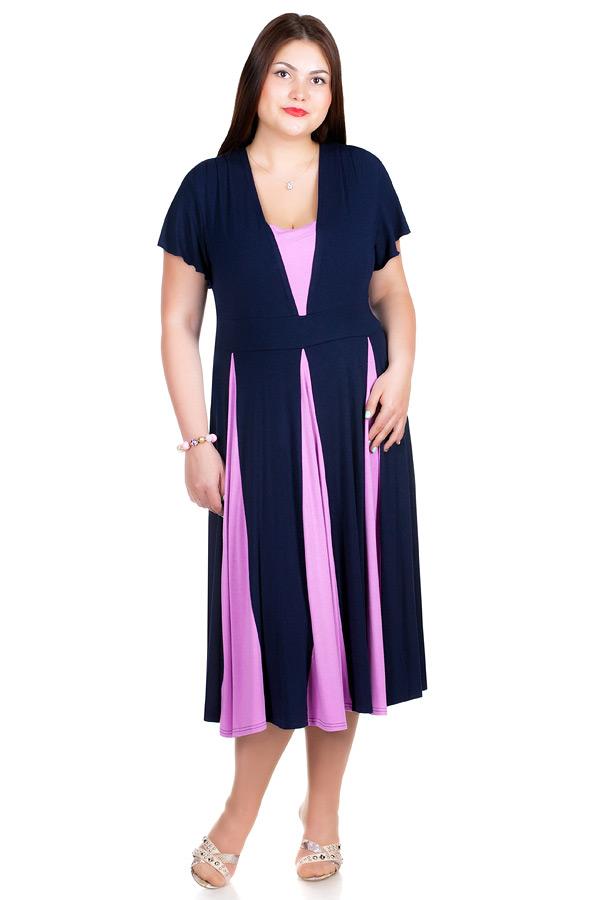 Платье БР Nikolina Темно-синий+ лиловый