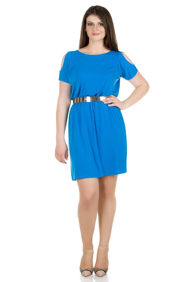 Платье БР С открытыми плечами Ярко-голубой