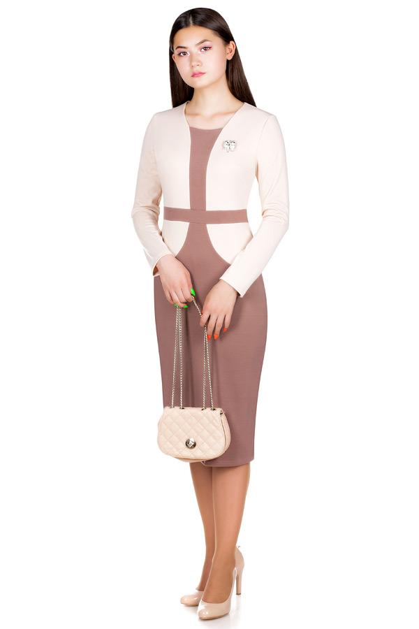 Платье МР Delma Молочный+светло-коричневый