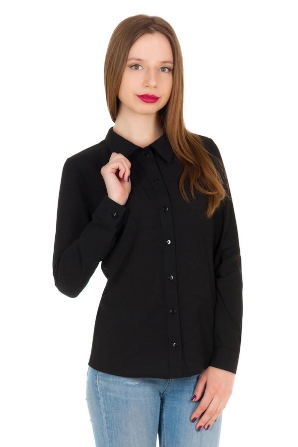 Рубашка длинный рукав Однотон Черный