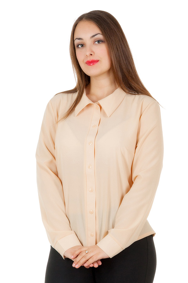 Рубашка БР Длинный рукав Однотон Бежевый