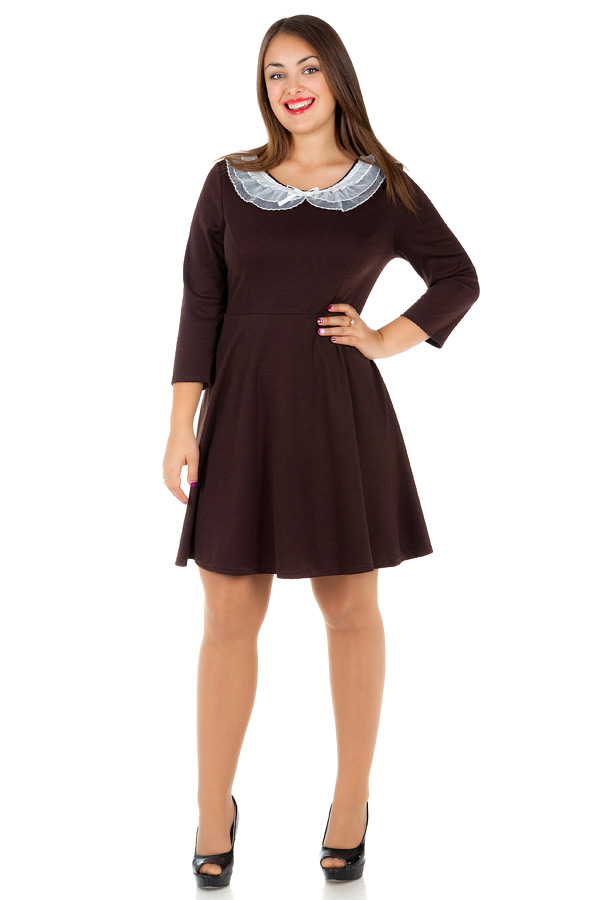 Платье БР Офис С кружевным воротником Темно-коричневый