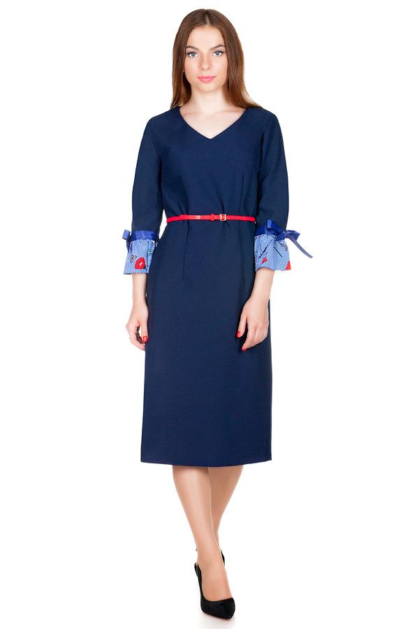 Платье МР Guliana Темно-синий+Цветы