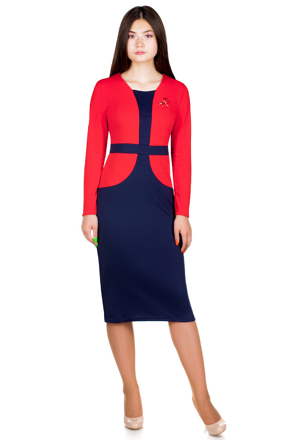 Платье МР Delma Красный+темно-синий