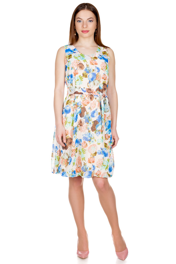 Платье Баллон Принт Розы персиковые