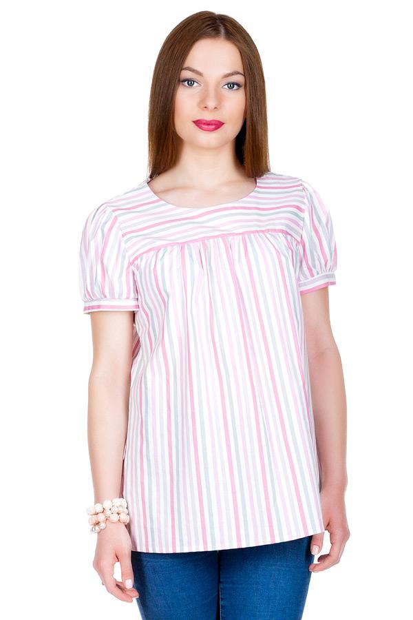 "Блуза с рукавом ""Фонарик"" Серый+Розовый"
