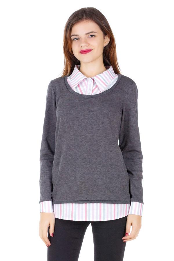 Имитация Джемпера с рубашкой Серый+Розовая полоска