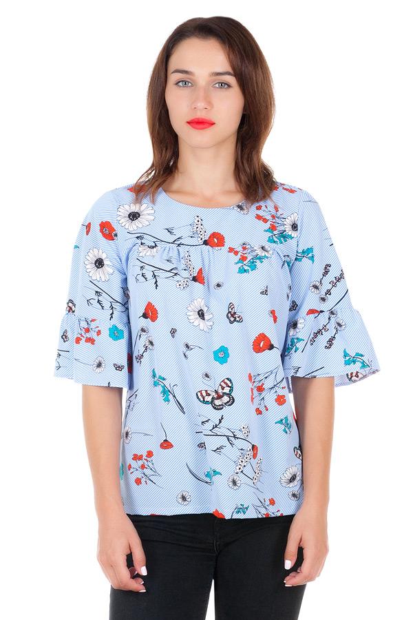 Блуза Mia Голубой+Маки