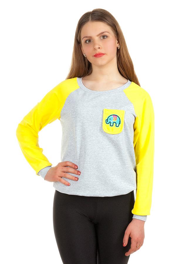 Свитшот Контрастные рукава с кармашком Желтый+слон