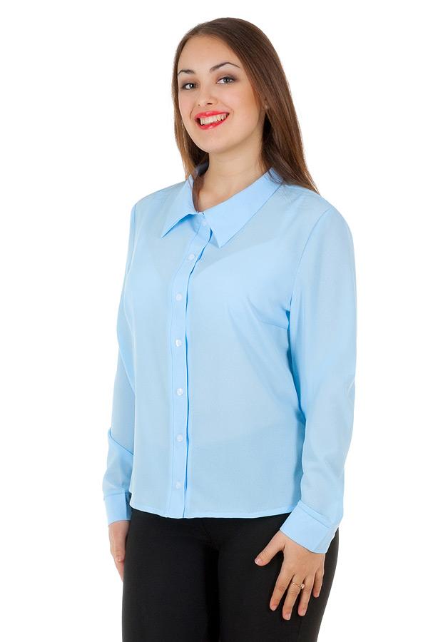 Рубашка БР Длинный рукав Однотон Голубой