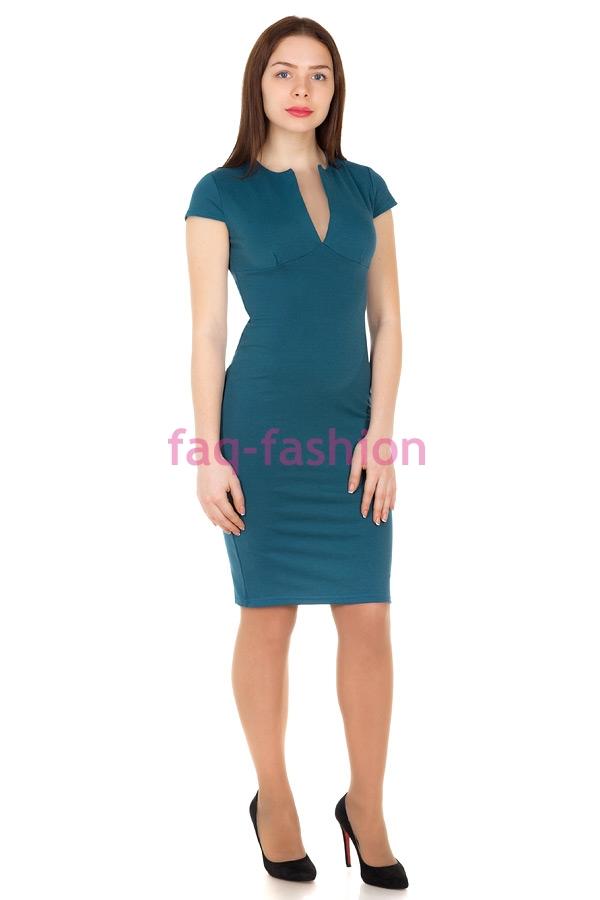 Платье V-вырез Бирюза