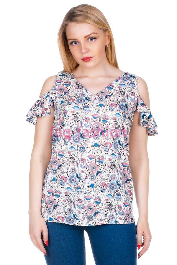 Блузка МР Brenda Цветочки голубые